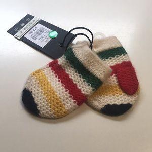 Hudson Bay Company Striped Baby Mittens Size 0-6M